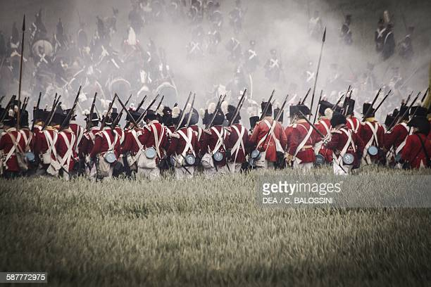 British infantry on the battlefield at Waterloo 1815 Napoleonic wars 19th century Historical reenactment