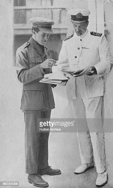 British intelligence officer, adventurer and author T. E. Lawrence with David George Hogarth at the Arab Bureau of Britain's Foreign Office, Cairo,...