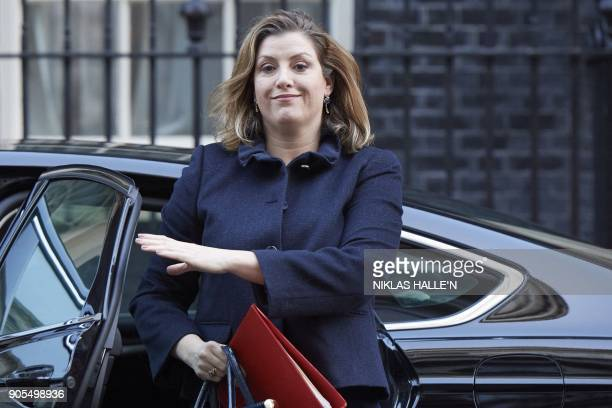 British International Development Secretary Penny Mordaunt arrives at 10 Downing street in central London for a cabinet meeting on January 16 2018...