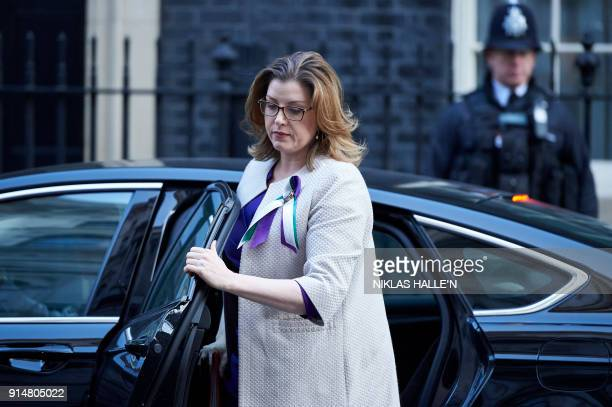 British International Development Secretary Penny Mordaunt arrives in Downing street for the weekly cabinet meeting on February 6 2018 in London /...