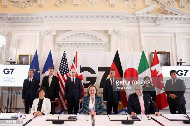 British International Trade Secretary Anne-Marie Trevelyan, U.S. Trade Representative Katherine Tai, Italy's Minister of Foreign Affairs Luigi Di...