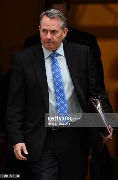 British International Trade Secretary Liam Fox leaves after attending a weekly cabinet meeting at 10 Downing Street in London on March 14 2017...