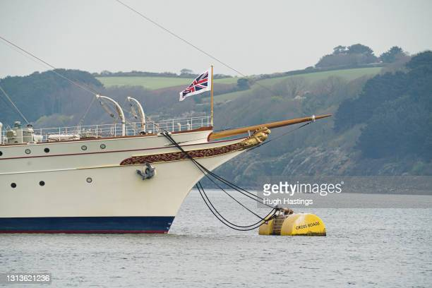 """British inventor and businessman Sir James Dyson's classic luxury motor yacht """"Nahlin"""" moored off the Cornish Coast on April 21, 2021 in Falmouth,..."""