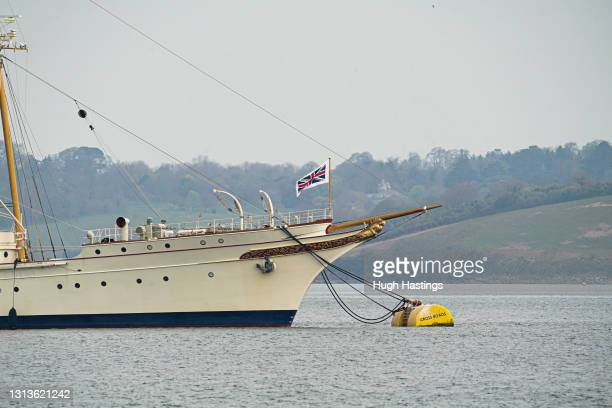"""British inventor and businessman Sir James Dyson's classic luxury motor yacht """"Nahlin"""" flies the Pilot Jack while moored off the Cornish Coast on..."""