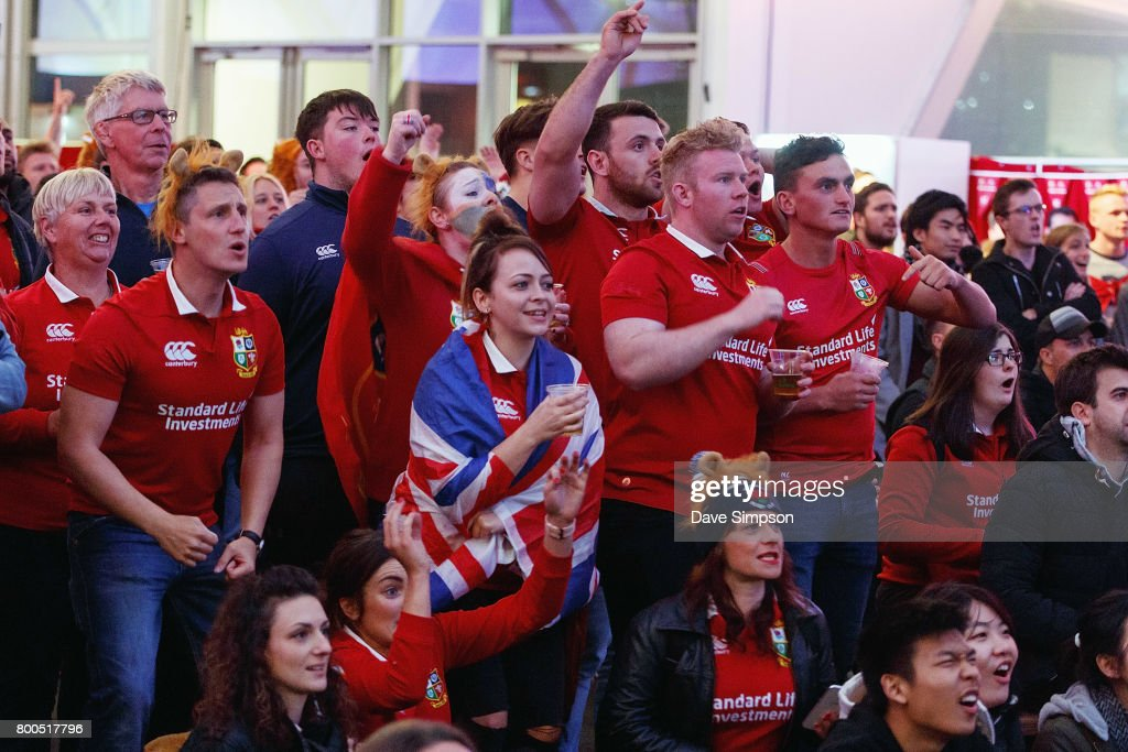 British & Irish Lions fans at the Queens Wharf Auckland Fan Zone watch the Rugby Test match between the New Zealand All Blacks and the British & Irish Lions on June 24, 2017 in Auckland, New Zealand.