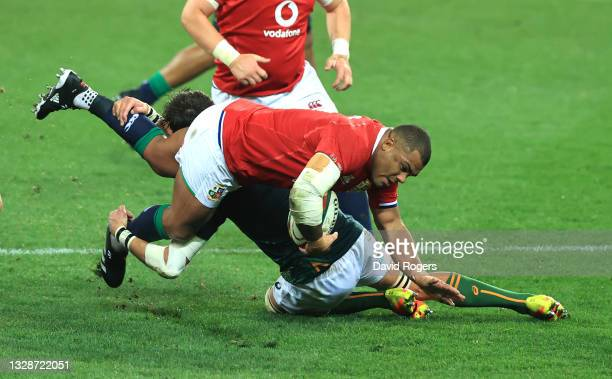 British & Irish Lions front row Kyle Sinckler is tackled by Franco Mostert of South Africa A during the match between South Africa A and the British...