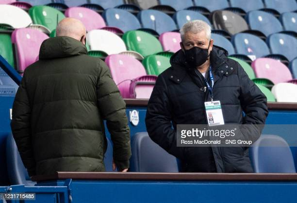 British & Irish Lions head coach Warren Gatland ahead of kick off during the Guinness Six Nations match between Scotland and Ireland at BT...