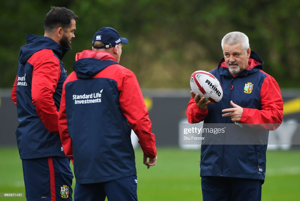 British & Irish Lions head coach Warren Gatland in discussion with coaches Andy Farrell and Neil Jenkins during a British and Irish Lions training session at Vale of Glamorgan on May 15, 2017 in Cardiff, Wales.