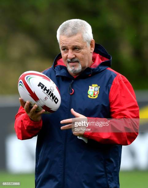 British Irish Lions head coach Warren Gatland looks on as his train during a British and Irish Lions training session at Vale of Glamorgan on May 15...