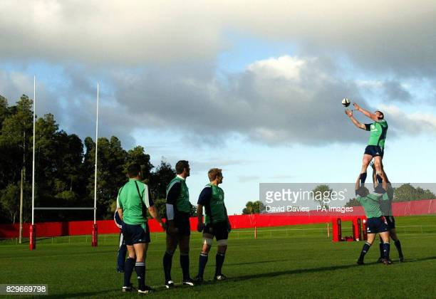 British Irish Lions' Paul O'Connell takes a lineout