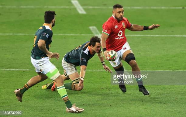 British & Irish Lions player Taulupe Faletau on the charge during the match between South Africa A and the British and Irish Lions at Cape Town...
