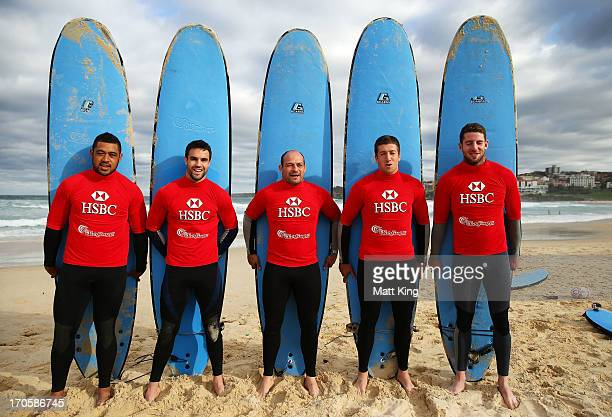British & Irish Lions players Toby Faletau, Connor Murray, Rory Best, Justin Tipuric and Alex Cuthbert take part surfing lessons on Bondi Beach on...