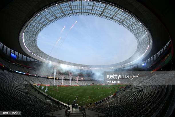 British & Irish Lions run out before the 3rd Test between South Africa and the British & Irish Lions at FNB Stadium on August 7, 2021 in...