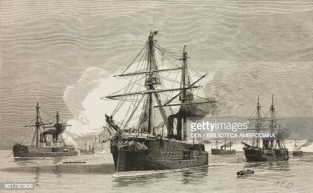 British ironclads which took part in the bombardment of Alexandria July 11 1882 Inflexible Penelope Temeraire Alexandra Monarch Sultan Invincible the...