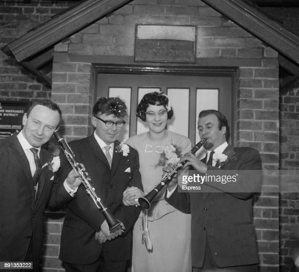 British jazz drummer Lennie Hastings and wife celebrating their wedding with fellow jazz musicians including clarinetist Acker Bilk UK 17th May 1963
