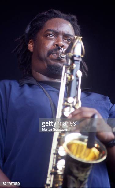 British jazz musician Courtney Pine performs on stage at Glastonbury Festival 27th June 1999