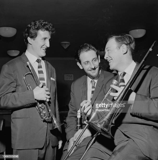 British jazz musicians from left trumpet player Pat Halcox clarinet player Ian Wheeler and trombone player Chris Barber pictured together prior to...