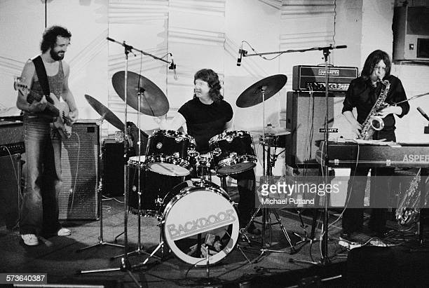 British jazz trio Back Door at Ronnie Scott's jazz club London 21st June 1976 Left to right Colin Hodgkinson Adrian Tilbrook and Ron Aspery
