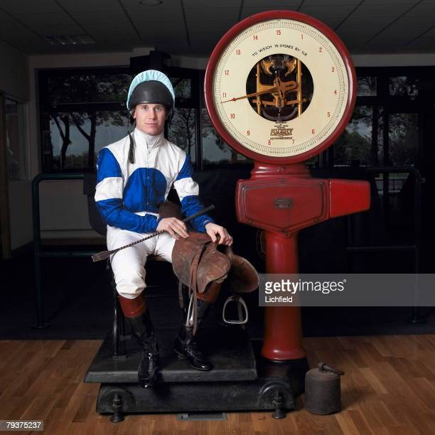 British jockey Richard Johnson in the Weighing Room at Haydock Park Racecourse near Manchester on 6th May 2004