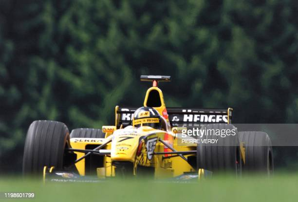 British JordanMugenHonda driver Damon Hill steers his car on the racetrack during the first free practice session in Spielberg 23 July two days...