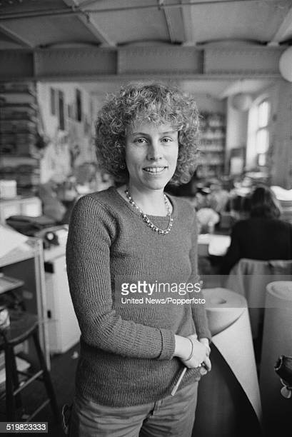 British journalist and author Sue O'Sullivan pictured in the office of Spare Rib Magazine collective in London on 18th November 1980