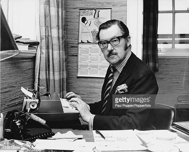 British journalist and broadcaster Alan Whicker at his typewriter September 1970