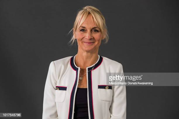 British journalist and news presenter Louise Minchin attends a photocall during the annual Edinburgh International Book Festival at Charlotte Square...