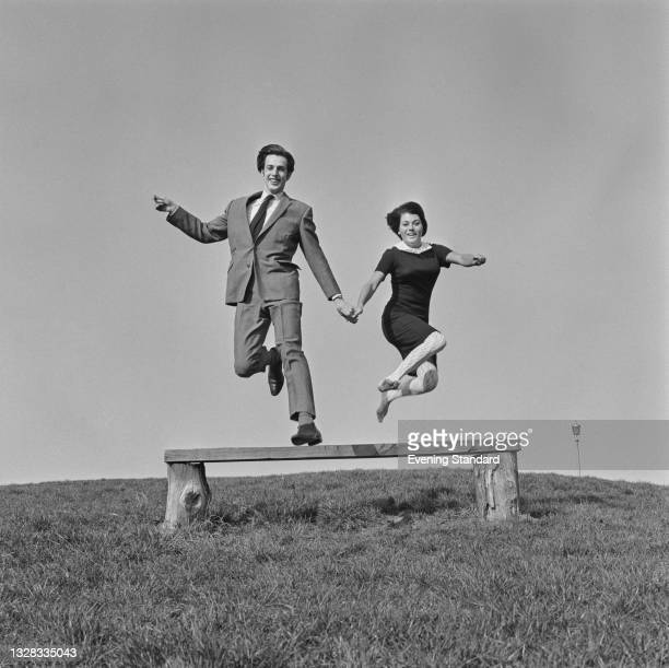 British journalist and writer Glyn Worsnip and Jo Glanville celebrate their engagement, UK, 2nd April 1965.