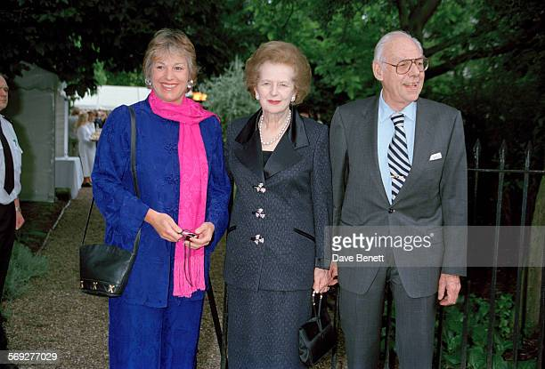 British journalist Carol Thatcher with her mother former Prime Minister Margaret Thatcher and father Denis Thatcher attending a garden party at the...