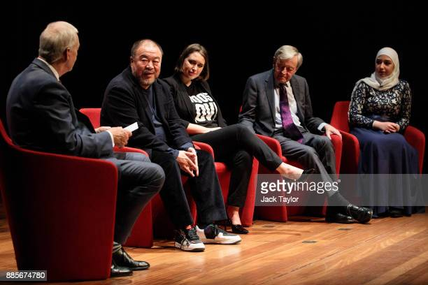 British journalist Jon Snow Chinese artist and director Ai Weiwei CoFounder and CEO of Help Refugees Josie Naughton Lord Alfred 'Alf' Dubs and Diana...