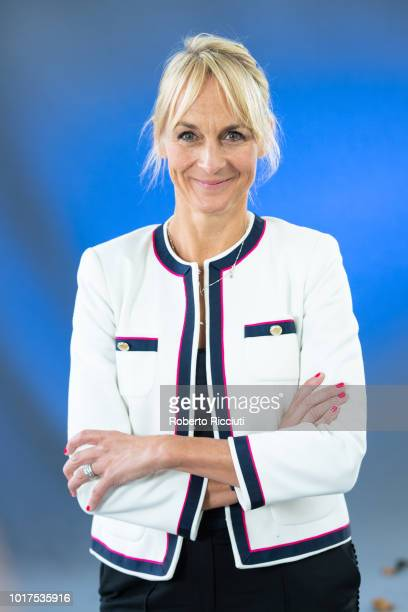 British journalist Louise Minchin attends a photocall during the annual Edinburgh International Book Festival at Charlotte Square Gardens on August...