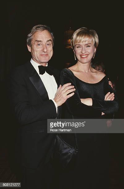 British journalist newspaper editor and writer Harold Evans and wife Tina Brown attend a social event at the Plaza Hotel New York City 1993