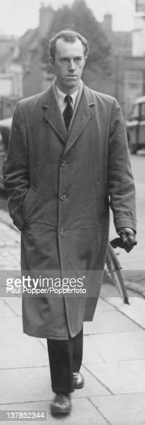 British journalist Peter Wildeblood arriving for a hearing at Lymington Magistrate's Court Hampshire 23rd January 1953 Wildeblood and his...