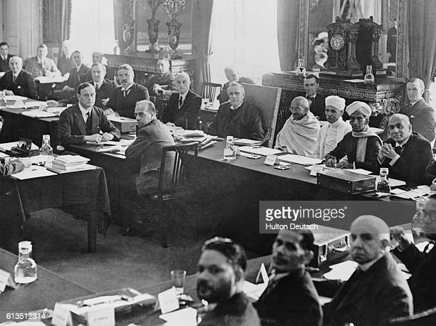 British Judge Lord Sankey chairing the second meeting of the India Round Table Conference in September 1931 with Indian leader Mahatma Gandhi and...