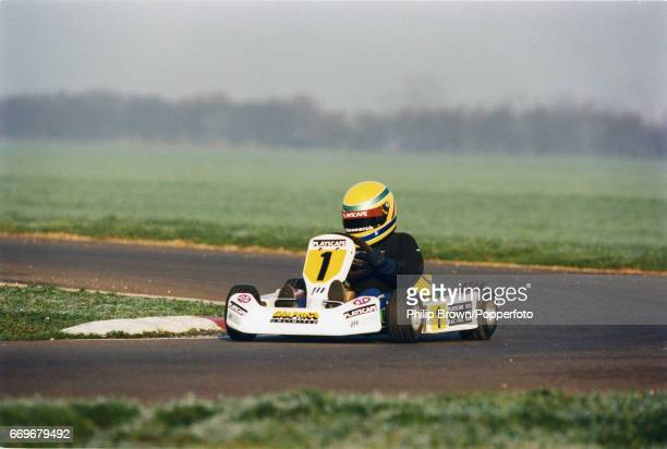 British Junior Go Kart racer Lewis Hamilton aged 10 driving at Kimbolton race track in England 19th December 1995
