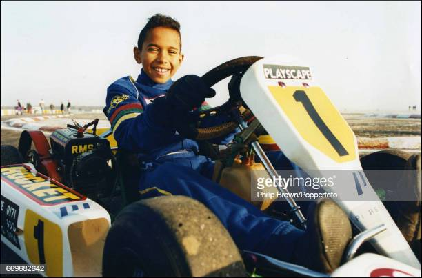 British Junior Go Kart racer Lewis Hamilton aged 10 ready for a drive at Kimbolton race track in England 19th December 1995