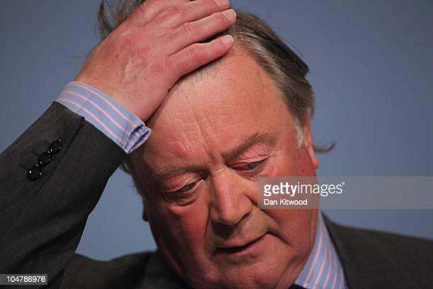 British Justice Secretary Ken Clarke speaks at the Conservative Party Conference on October 5, 2010 in Birmingham, England. On the third day of the...