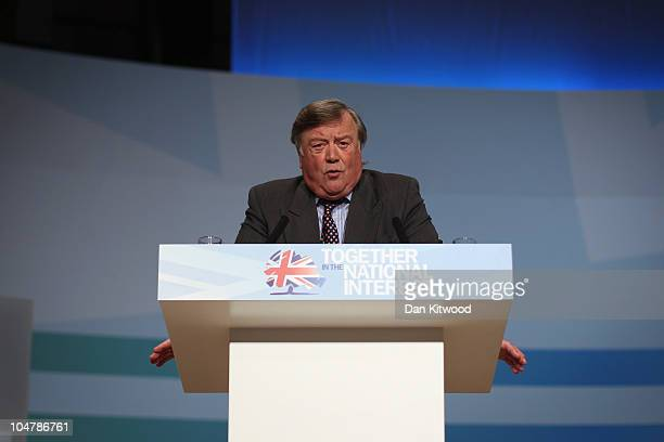British Justice Secretary Kenneth Clarke speaks at the Conservative Party Conference on October 5, 2010 in Birmingham, England. On the third day of...