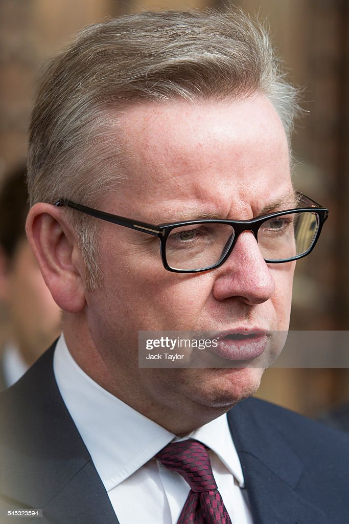 British Justice Secretary Michael Gove speaks to the media outside the Houses of Parliament on July 7, 2016 in London, England. Theresa May has the backing of 199 fellow MPs after the second ballot for the leadership of the Conservative Party. Receiving 84 votes, Andrea Leadsom MP joins May on the shortlist presented to the Conservative Party members after Michael Gove was eliminated with 46 votes.