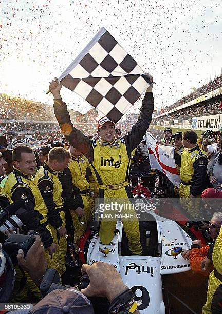 British Justin Wilson from RuSPORT team celebrates after winning the Champ Car GP at the Hermanos Rodriguez racetrack in Mexico City 06 November 2005...