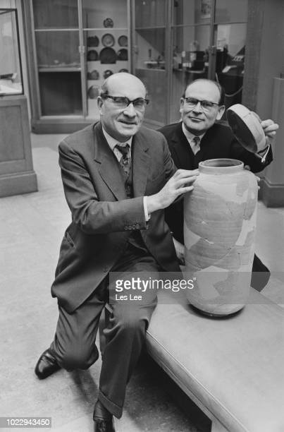 British keeper at the Department of Western Asiatic Antiquities of the British Museum Richard David Barrett with doctor Joseph Rosenwasser and a Dead...