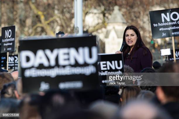 British Labour Cooperative politician Luciana Berger addresses the crowd during a demonstration in Parliament Square against antiSemitism in the...