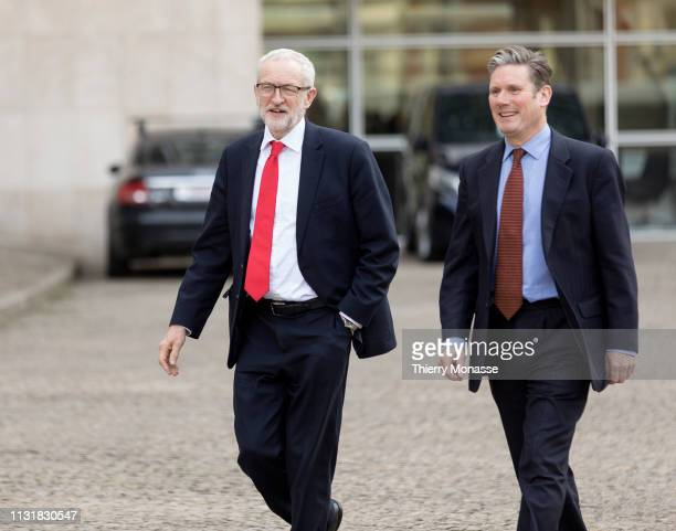 British Labour leader and Leader of the Opposition Jeremy Corbyn and the Shadow Secretary of State for Exiting the European Union Sir Keir Starmer...