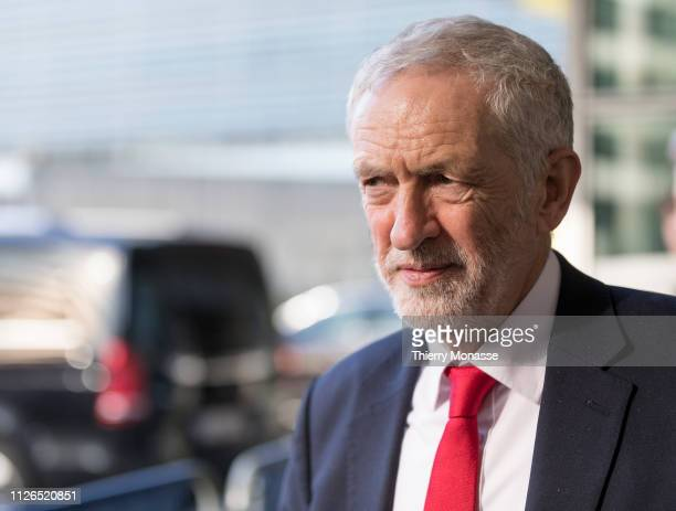 British Labour leader and Leader of the Opposition Jeremy Corbyn is talking to media at the Berlaymont the EU Commission headquarters on February 21...
