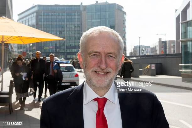 British Labour leader and Leader of the Opposition Jeremy Corbyn talks to the media at the Berlaymont the EU Commission headquarters on March 21 2019...
