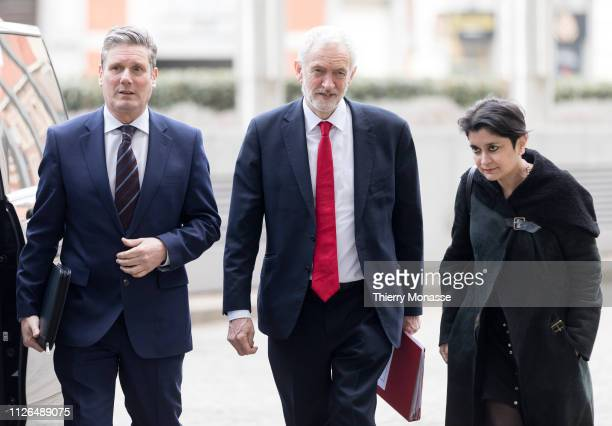 British Labour leader and Leader of the Opposition, Jeremy Corbyn with the Shadow Secretary of State for Exiting the European Union Sir Keir Starmer...