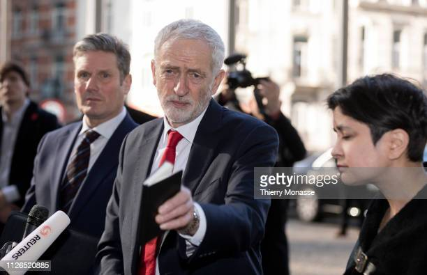 British Labour leader and Leader of the Opposition Jeremy Corbyn with the Shadow Secretary of State for Exiting the European Union Sir Keir Starmer...