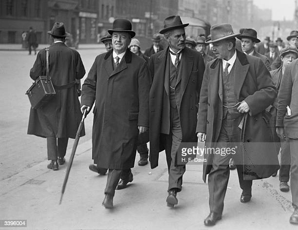 British Labour Leader of the Opposition Ramsay MacDonald leaving Memorial Hall London with Labour MPs Arthur Henderson and J H 'Jimmy' Thomas 1st May...
