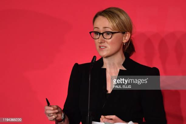 British Labour leadership candidate, Rebecca Long-Bailey sets out her vision for the party during the Leader hustings event in Liverpool, north west...