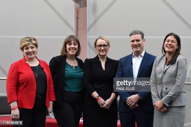 British Labour leadership candidates, Emily Thornberry, Jess Phillips, Rebecca Long-Bailey, Keir Starmer and Lisa Nandy pose prior to setting out...